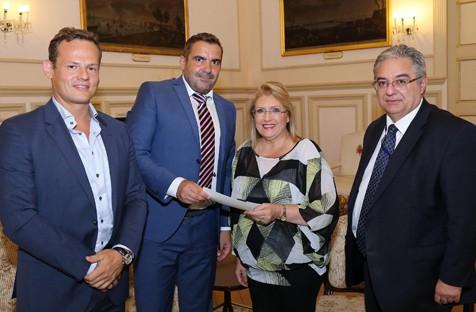 Dr. jur. Jörg Werner und ich bei Maltas Präsidenten, Marie Louise Coleiro Preca. Oktober 2015