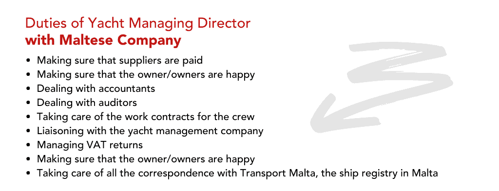 Making sure that suppliers are paid Making sure that the owner/owners are happy Dealing with accountants Dealing with auditors Taking care of the work contracts for the crew Liaisoning with the yacht management company Managing VAT returns Making sure that the owner/owners are happy Taking care of all the correspondence with Transport Malta, the ship registry in Malta